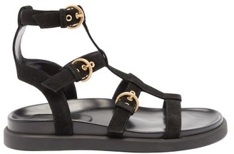 Gianvito Rossi Arena Leather And Suede Gladiator Sandals - Black