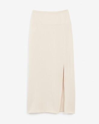 Express High Waisted Satin Front Slit Midi Skirt