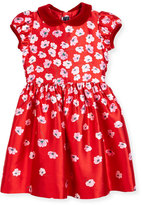 Oscar de la Renta Degrade Pansy-Print Dress, Red, Size 2-6
