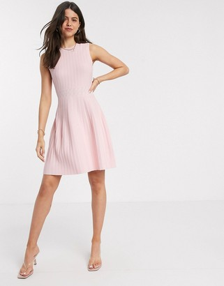 Ted Baker balieey stitch detail knitted sleeveless mini dress in pink