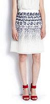 Lands' End Women's Pleated Star Skirt-White Dahlia Stars