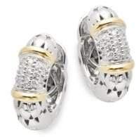 """Effy Diamond, 18K Yellow Gold, Silver Hoop Earrings- 0.7"""""""
