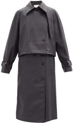 Tibi Jacket And Pinafore Dress Faux-leather Set - Dark Navy