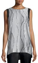 Lafayette 148 New York Sasha Sleeveless Printed-Front Blouse