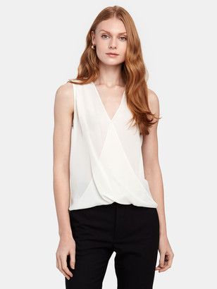 L'Agence Mila Drape Sleeveless Silk Blouse