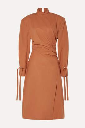 Acne Studios Deera Ruched Cotton-poplin Dress - Orange