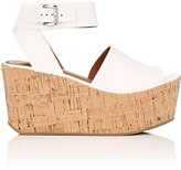 Derek Lam 10 Crosby WOMEN'S FAYE LEATHER PLATFORM WEDGE SANDALS-WHITE SIZE 8.5
