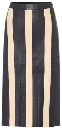 STOULS Astridou striped leather midi skirt