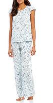 Cabernet Swirl-Print Flutter-Sleeve Pajamas