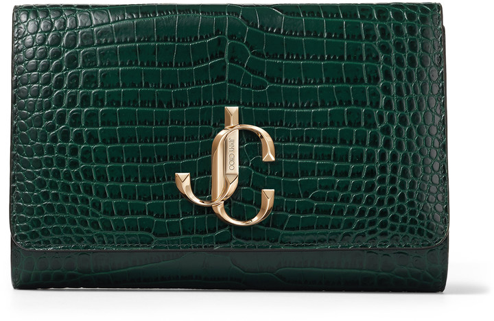 Jimmy Choo VARENNE CLUTCH Dark Green Croc Embossed Leather Clutch Bag with Gold JC Logo