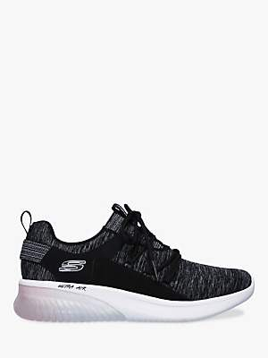 Skechers Sketch Air Lace Up Trainers, Black/Pink