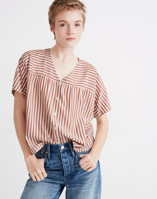 Madewell Rhyme Button-Front Top in Stripe Play