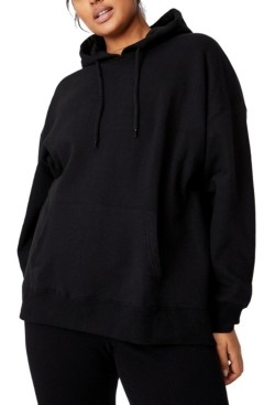 Cotton On Trendy Plus Size Dad Maxi Peached Oversized Hoodie Sweater