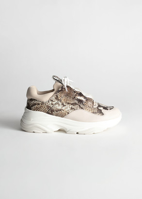 And other stories Snake Print Platform Sneakers