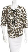 Diane von Furstenberg Printed Three-Quarter Sleeve Top