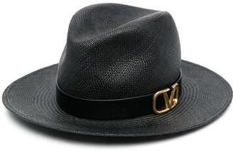 Valentino Vlogo Fedora Straw Hat
