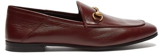 Gucci Brixton Collapsible-heel Leather Loafers - Womens - Burgundy