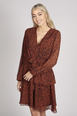 Tenki FULL SLEEVE LEOPARD PRINT LAYER DRESS IN BROWN