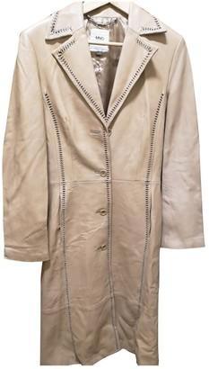 MANGO Camel Leather Coat for Women