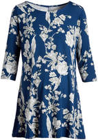Glam Blue & White Floral Maternity Scoop Neck Tunic
