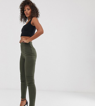Asos Tall ASOS DESIGN Tall high waist trousers in skinny fit in khaki