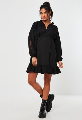 Missguided Black Lace Button Up Maternity Dress