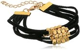Panacea Black Suede Layered Gold Beads Bracelet