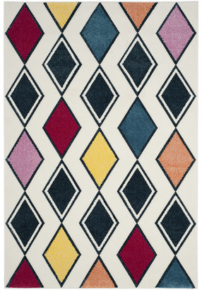 """Safavieh Hollywood Collection HLW704 Rug, Ivory/Peacock Blue, 2'3""""x8'"""