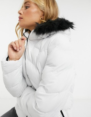 Brave Soul kylie padded jacket with faux fur hood