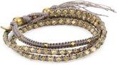 "M.Cohen Handmade Designs M.C ohen Handmade Designs Tiny Brass Beads on Linen Triple Wrap Bracelet, 21.5"""