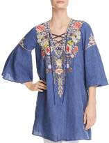 Johnny Was Kitti Embroidered Chambray Lace-Up Top