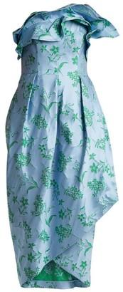 Carolina Herrera Ruffle-trimmed Floral-jacquard Dress - Womens - Blue Print