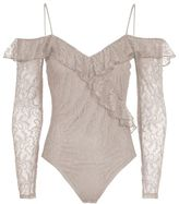 Topshop Lace ruffle cold shoulder body