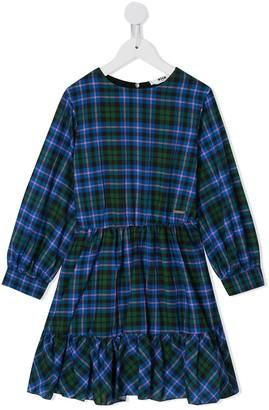 Msgm Kids Check Print Ruffled Dress