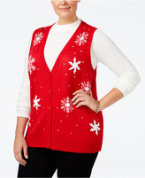 Karen Scott Plus Size Snowflake Sweater Vest, Only at Macy's