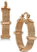2028 Rose Gold-Tone Ridged Hoop Earrings