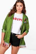 boohoo Plus Hope Embroidered Festival Jacket