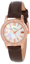 Lucien Piccard Women's LP-12006-RG-02MOP Veleta White Mother-Of-Pearl Dial Swarovski Crystal Accents Brown Leather Watch