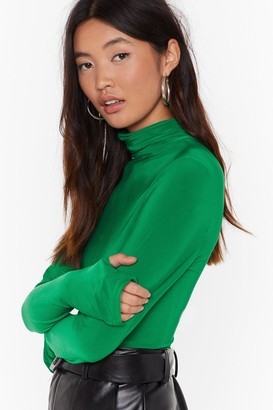 Nasty Gal Womens Turtleneck Slinky Top with Thumb Holes - Green