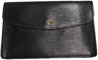 Louis Vuitton Vintage Black Leather Clutch Bag