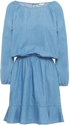 Joie Gathered Cotton-chambray Mini Dress