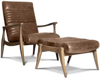 One Kings Lane Erik Accent Chair & Ottoman Set - Light Caramel