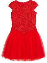 David Charles Childrenswear Cap-Sleeve Lace & Tulle Party Dress, Red, Size 6-16