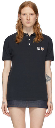MAISON KITSUNÉ Black Double Fox Head Polo