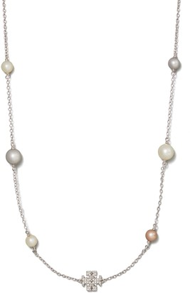 Tory Burch KIRA PAVE & PEARL NECKLACE