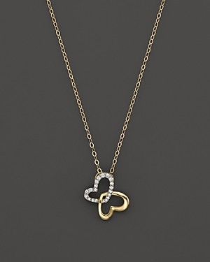 Bloomingdale's Diamond Butterfly Pendant Necklace in 14K Yellow Gold, .08 ct. t.w.