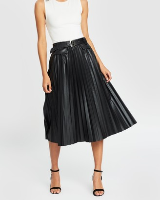Atmos & Here PU Belted Pleated Skirt