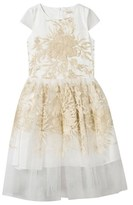 David Charles White and Gold Floral Embroidered Tulle Dress