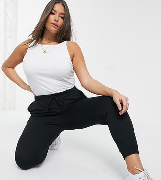 Asos DESIGN Curve basic joggers with tie waist in organic cotton