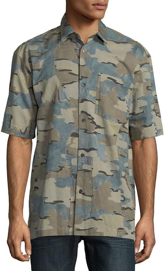 Dries Van Noten Men's Camouflage Button-Down Shirt
